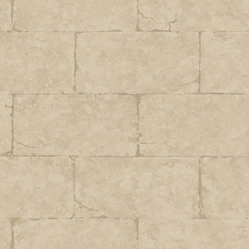 York Wallcoverings Fresco Block Wall Desert Tan and Caramel Sandstone Wallpaper: Sample Swatch Only