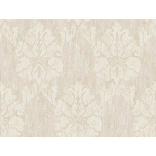 York Wallcoverings Fresco Silver Gray, Beige and Chalk White Wood Damask Wallpaper: Sample Swatch Only