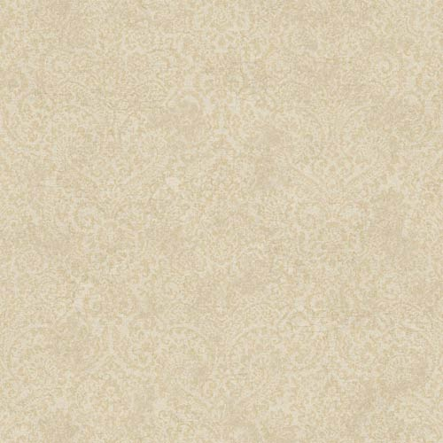 York Wallcoverings Fresco Buff and Light Brown Textural Damask Wallpaper: Sample Swatch Only