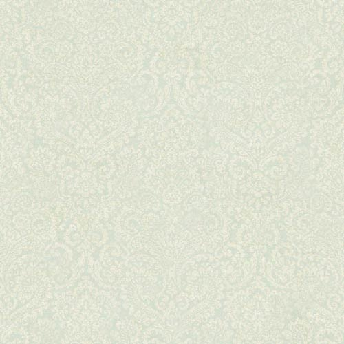 York Wallcoverings Fresco Pale Blue and Cream Textural Damask Wallpaper: Sample Swatch Only