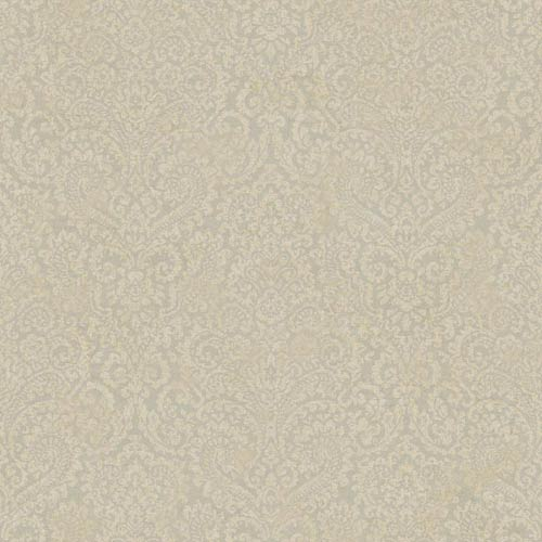 York Wallcoverings Fresco Silver Gray and Khaki Textural Damask Wallpaper: Sample Swatch Only