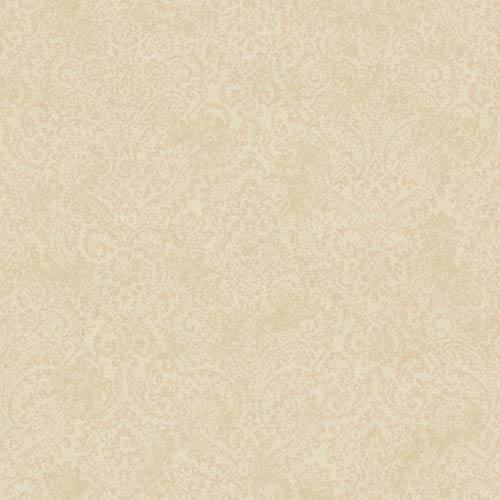 York Wallcoverings Fresco Buttercream and Peach Textural Damask Wallpaper: Sample Swatch Only