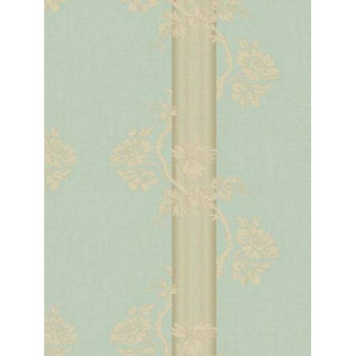 York Wallcoverings Fresco Aqua Green, Gold and Brown Floral Stripe Wallpaper: Sample Swatch Only