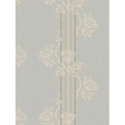 York Wallcoverings Fresco Pewter, Light Gray and Brown Floral Stripe Wallpaper: Sample Swatch Only