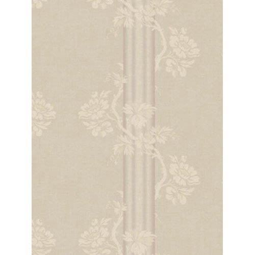 York Wallcoverings Fresco Warm Brown, Cream and Purple Floral Stripe Wallpaper: Sample Swatch Only