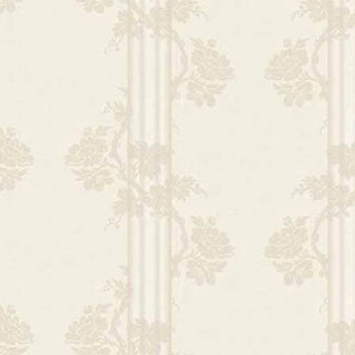 York Wallcoverings Fresco Pearl, Buttercream and Taupe Floral Stripe Wallpaper: Sample Swatch Only