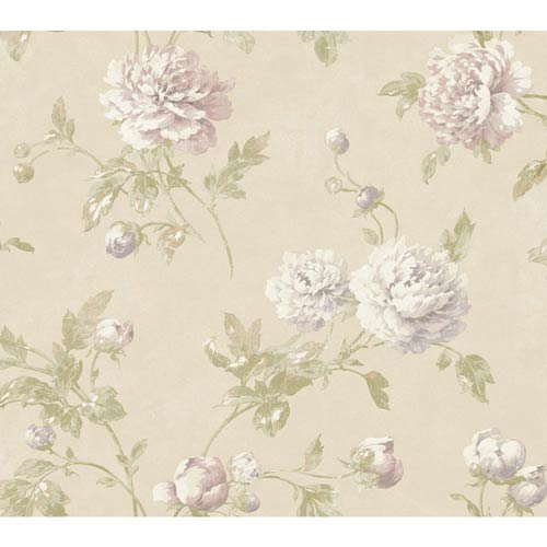 York Wallcoverings Fresco Buttercream, Purple and Tan Wellington Wallpaper: Sample Swatch Only