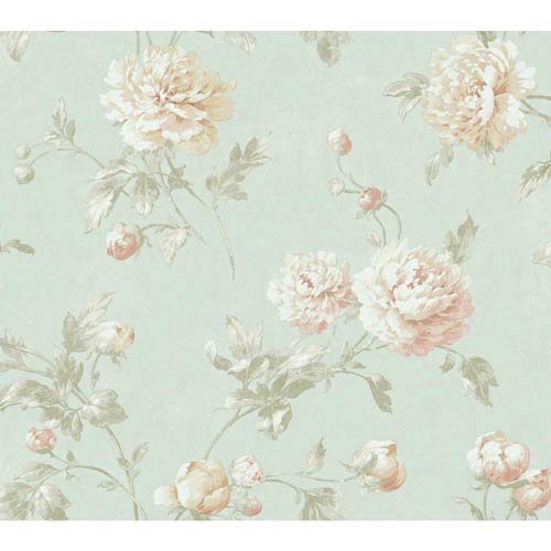 York Wallcoverings Fresco Light Blue, Pink and Gold Wellington Wallpaper: Sample Swatch Only