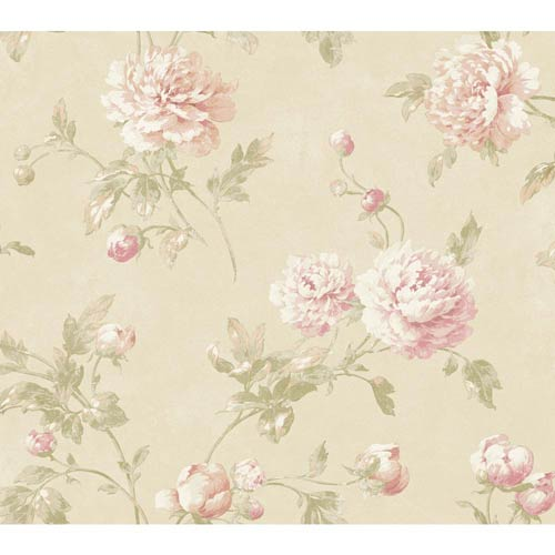 York Wallcoverings Fresco Muslin, Pink and Cream Wellington Wallpaper: Sample Swatch Only