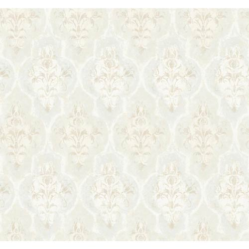 York Wallcoverings Fresco Cream Blush, Light Blue Gray and Silver Moroccan Damask Wallpaper: Sample Swatch Only