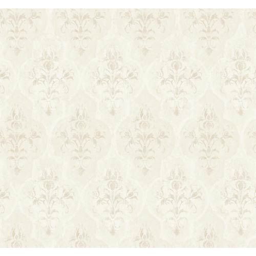 York Wallcoverings Fresco Blush, Pearl Beige and Chalk White Moroccan Damask Wallpaper: Sample Swatch Only