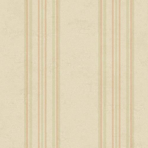 York Wallcoverings Fresco Buttercream, Peach and Moss Green Edisto Stripe Wallpaper: Sample Swatch Only