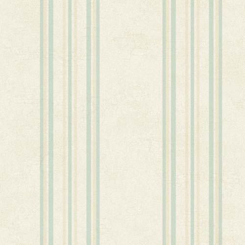 York Wallcoverings Fresco Off White, Pale Blue and Tan Edisto Stripe Wallpaper: Sample Swatch Only
