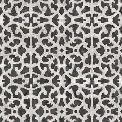 York Wallcoverings Black and White Scroll Gate Peel and Stick Wallpaper - SAMPLE SWATCH ONLY