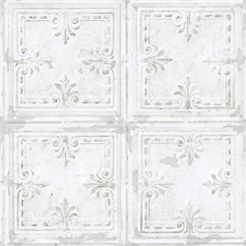 Tin Tile White Peel and Stick Wallpaper