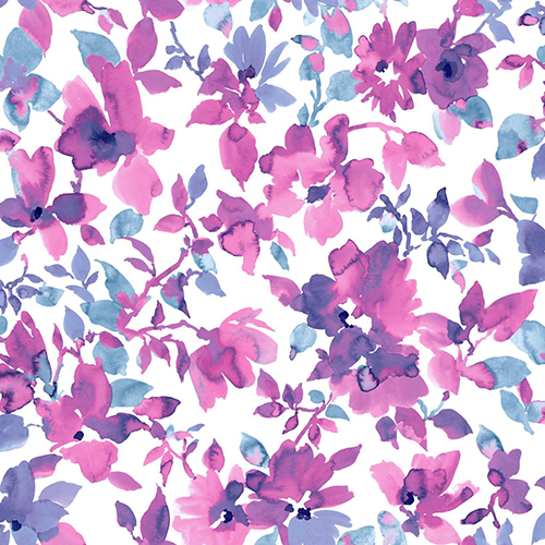 Watercolor Pink and Blue Floral Peel and Stick Wallpaper - SAMPLE SWATCH ONLY