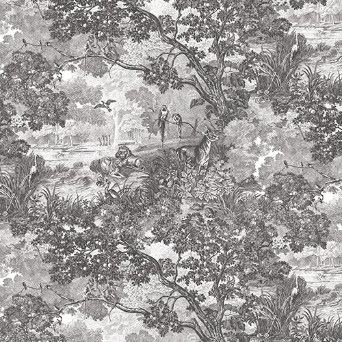 Jungle Toile Black and White Peel and Stick Wallpaper