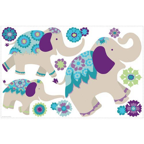 Waverly Kids Teal and Purple Elephant Mega Wall Decal