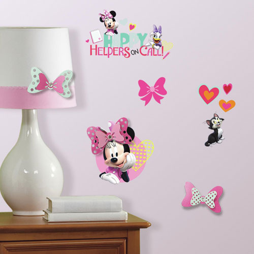 Minnie Mouse Happy Helpers Peel and Stick Wall Decals with 3D Embellishments