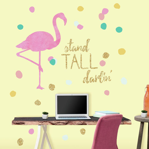 Roommates Decor Stand Tall Flamingo Peel and Stick Wall Decals With Glitter