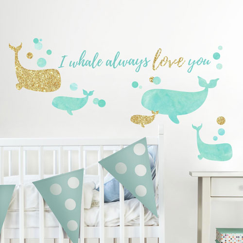 I Whale Always Love You Peel and Stick Wall Decals with Glitter
