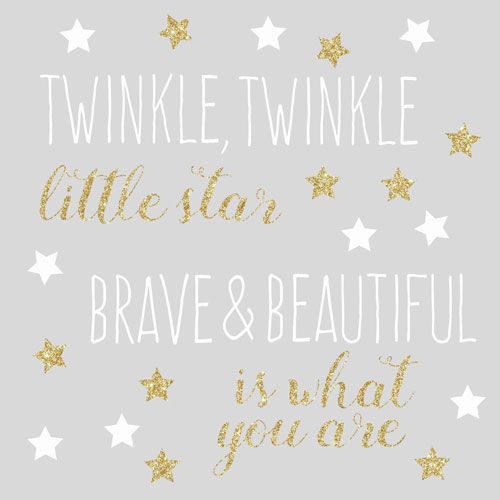 Roommates Decor Twinkle Twinkle Little Star Quote Peel and Stick Wall Decals with Glitter