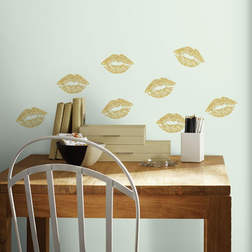 Roommates Decor Lip Peel and Stick Wall Decals with Glitter
