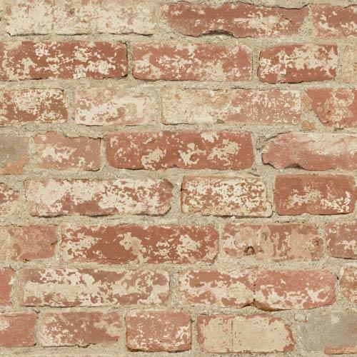 Stuccoed Red Brick Peel and Stick Wall Decor