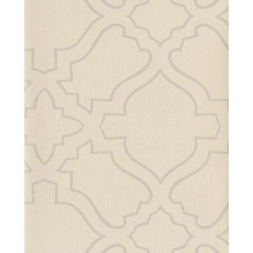 Atelier Cream and Silver Wallpaper: Sample Swatch Only
