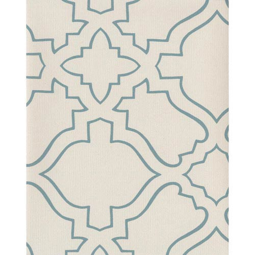 Atelier Cream and Turquoise Wallpaper