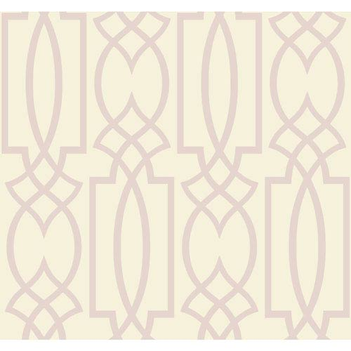 Ronald Redding Sculptured Surfaces Off-White and Lilac Tracery Wallpaper: Sample Swatch Only