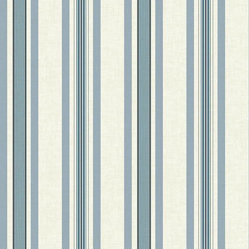 York Wallcoverings Tailored Beige and Blue Stripe Wallpaper