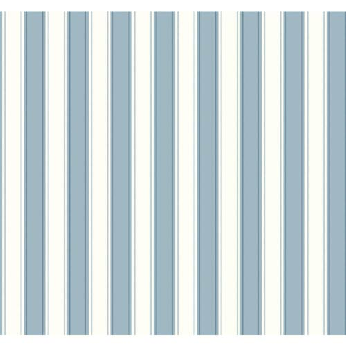 York Wallcoverings Inspired by Color Blue and White Silk Stripe Wallpaper: Sample Swatch Only
