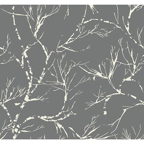 Masterworks Dark Gray Foliage Wallpaper