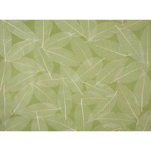 Ronald Redding Designer Resource Green and Beige Grasscloth Natural Leaves Wallpaper