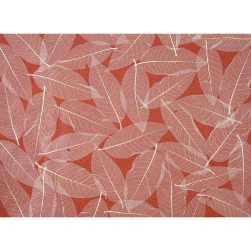 Ronald Redding Designer Resource Red and Beige Grasscloth Natural Leaves Wallpaper: Sample Swatch Only