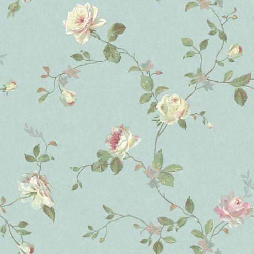 York Wallcoverings Vintage Luxe Vintage Floral Trail Wallpaper