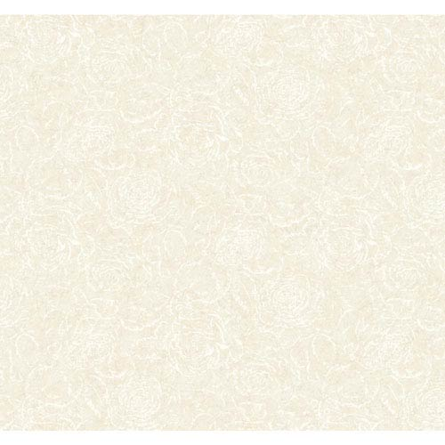 York Wallcoverings Vintage Luxe Beige and White Rose Texture Wallpaper