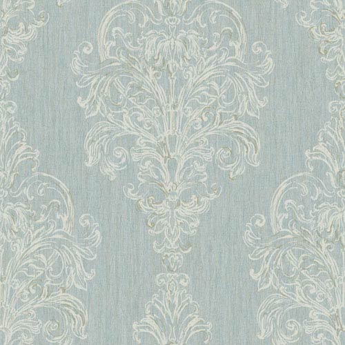 York Wallcoverings Vintage Luxe New Damask Stripe Wallpaper: Sample Swatch Only