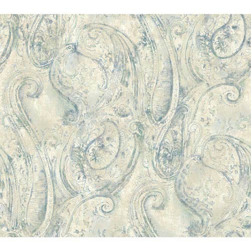 York Wallcoverings Vintage Luxe Sketched Paisley Wallpaper: Sample Swatch Only