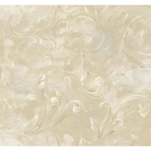 York Wallcoverings Vintage Luxe LG Arch Scroll Wallpaper: Sample Swatch Only