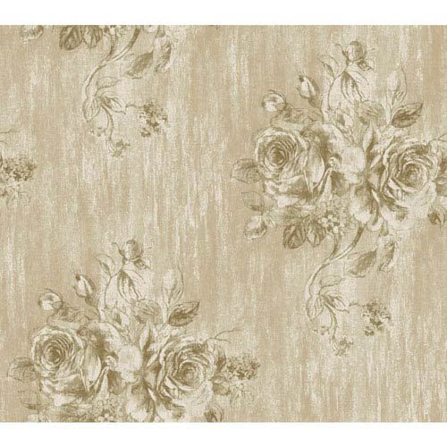 York Wallcoverings Vintage Luxe Weathered Floral  Wallpaper