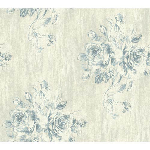 York Wallcoverings Vintage Luxe Weathered Floral  Wallpaper: Sample Swatch Only