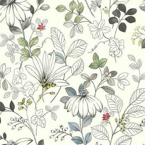 Silver Leaf II Chloe Multicolor Wallpaper