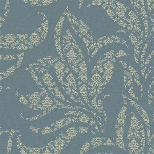 Silver Leaf II Catalina Teal Blue and Soft Metallic Gold Wallpaper