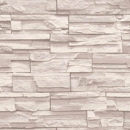 Natural Elements Cream and Light Taupe Flat Stone Wallpaper