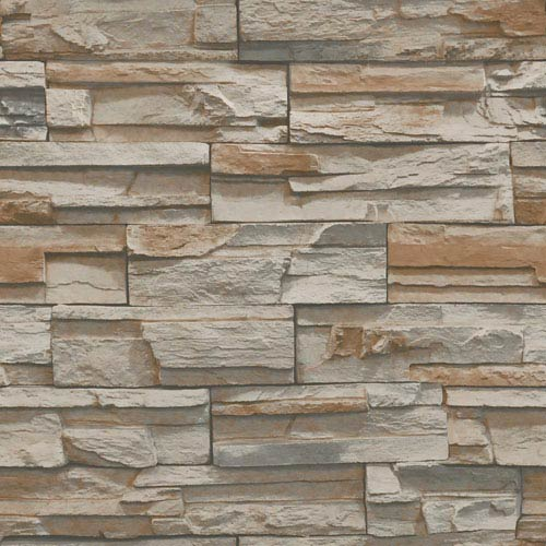 Natural Elements Brown and Grey Flat Stone Wallpaper: Sample Swatch Only