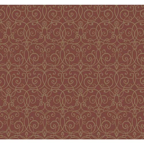 York Wallcoverings Inspired by Color Red and Gold Metallic Trellis Scroll Wallpaper
