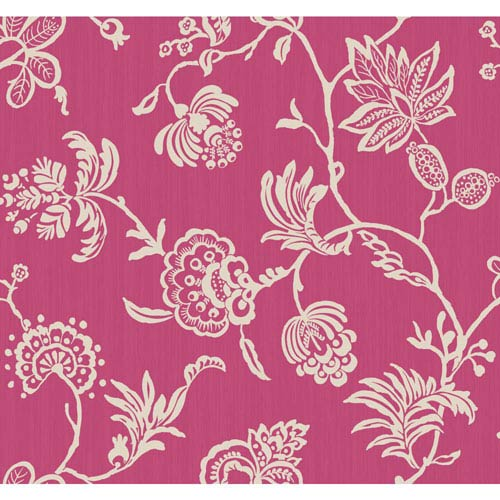 York Wallcoverings Sculptured Surfaces Ii Hot Pink And White Madeline Wallpaper
