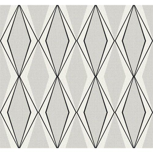 Stacy Garcia Paper Muse Off White and Black Facet Wallpaper